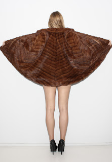 1950's Vintage brown mink cape with art deco chevron design.