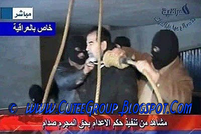 Sadam Hussein with the noose around the neck
