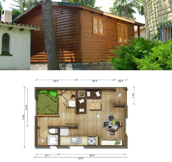 Planos de casas peque as plano casa 30 m2 - Casas de madera pequenas ...