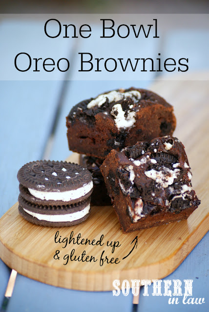 Healthy One Bowl Oreo Brownies Recipe - gluten free, healthy, low fat, low sugar, low calories, healthier brownie recipes, gluten free oreo brownies, dairy free