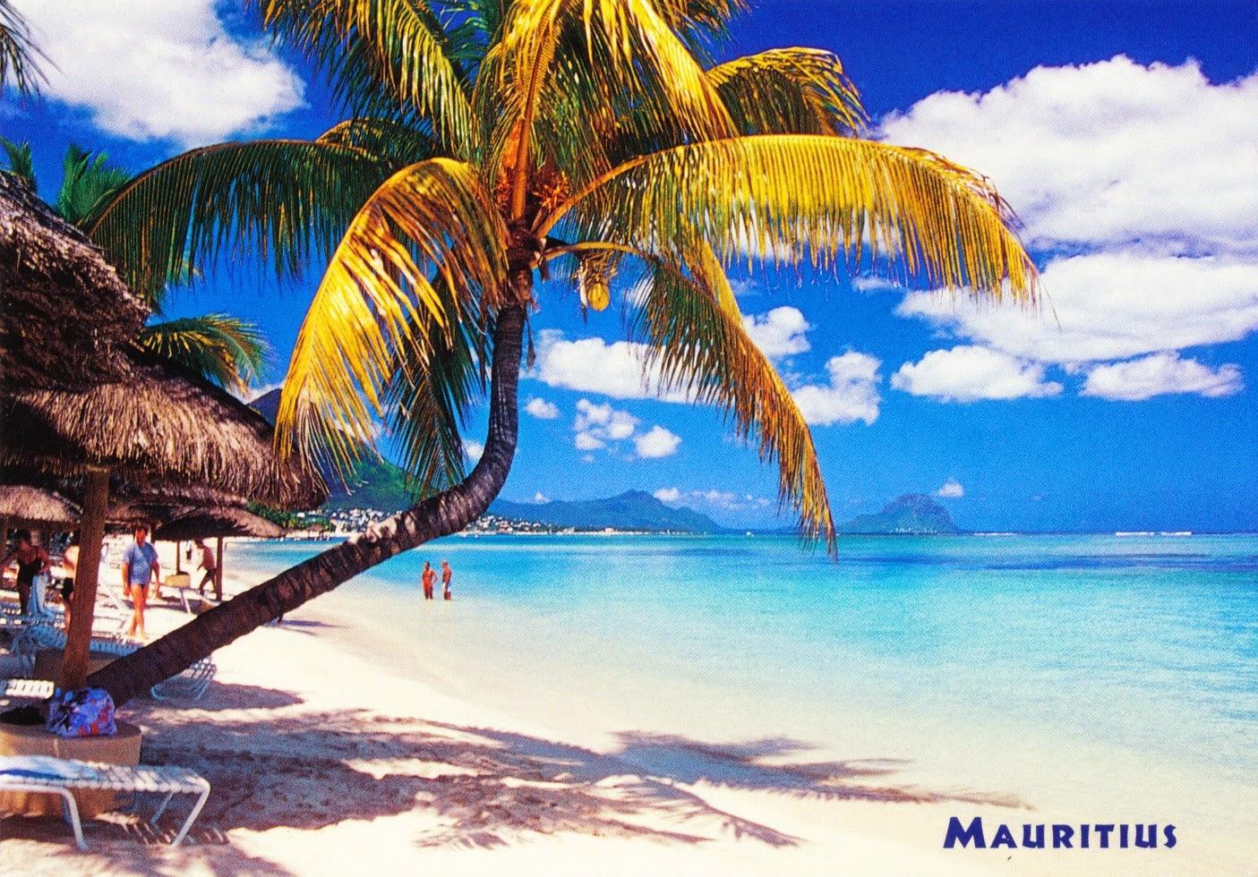 postcard, mauritius, beach