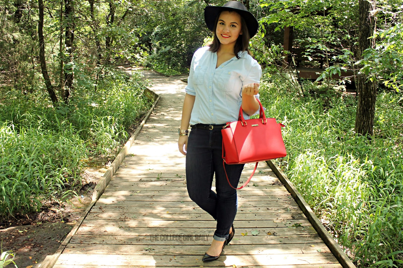Denim, spring, summer, forever 21, banana republic, red, red purse, heels, hat, black pumps, business casual, college, college fashion, college wardrobe, work wardrobe,