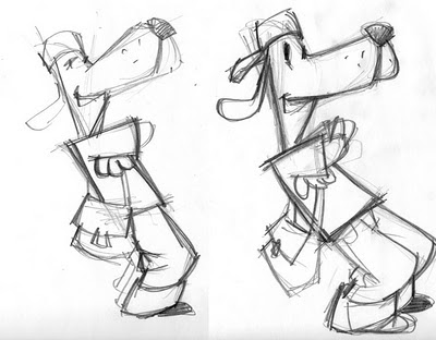 sketches of the Top Dog character