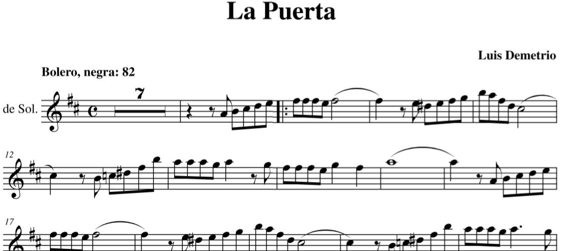 La puerta bolero de Luis Demetrio Partituras en Clave de Sol, Fa en cuarta y Do en tercera línea.