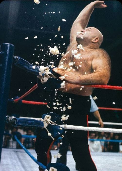 old school WWF George the Animal Steele eats turnbuckle