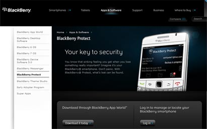 Aplikasi Web BlackBerry Protect