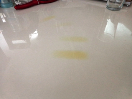 ... on the bathroom counter? I used Rust-Oleum Countertop Transformations