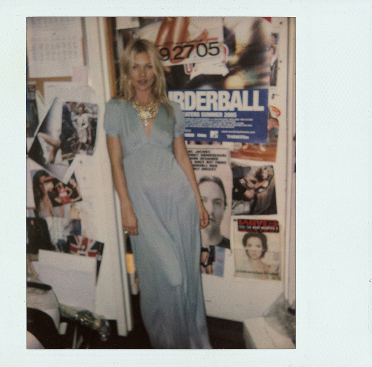 Sophia Coppola polaroid with Kate Moss in a baby blue maxi dress and statement costume jewelry