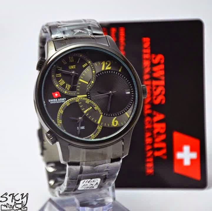 Swiss Army SA 1165 FB Triple Time hitam krem