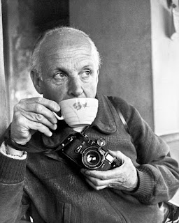 Henri Cartier-Bresson with his famous Leica Camera