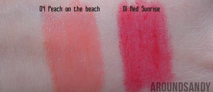 swatches Bourjois - Color Boost 01 Red Sunrise y 04 Peach on the Beach