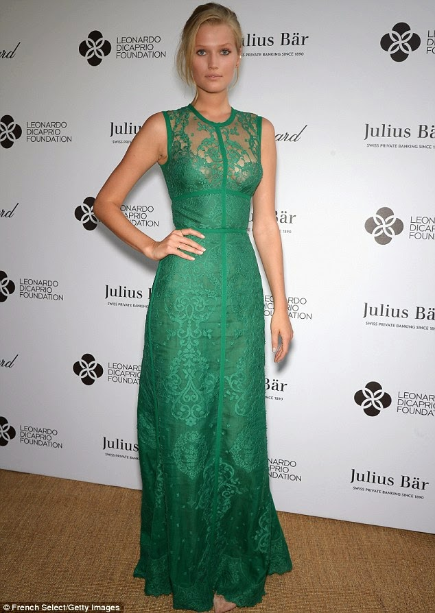 Toni Garrn wears green lace Elie Saab for Leonardo DiCaprio's Foundation Gala in Saint Tropez