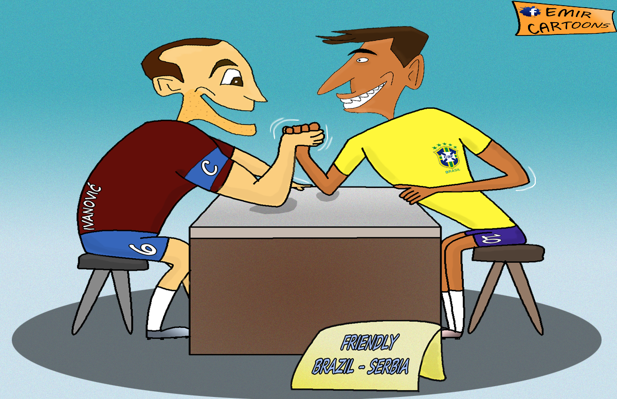 Brazil Srbija,Brazil , Srbija,Prijateljska utamica ,6.6.2014, emir balkan cartoons,emir cartoons,emir karikature, karikatura dana,karikature fudbal,