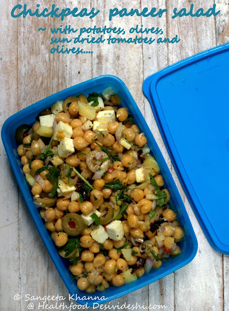 chickpea paneer salad for lunch box