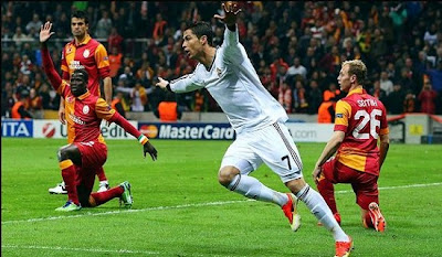 Cristiano Ronaldo celebrates his first goal against Galatasaray