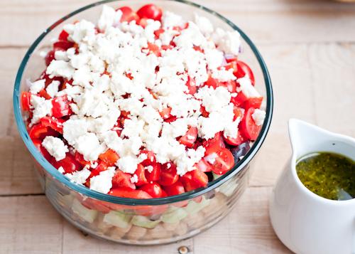 Layered Greek-Style Chickpea Salad Recipe with Oregano Vinaigrette