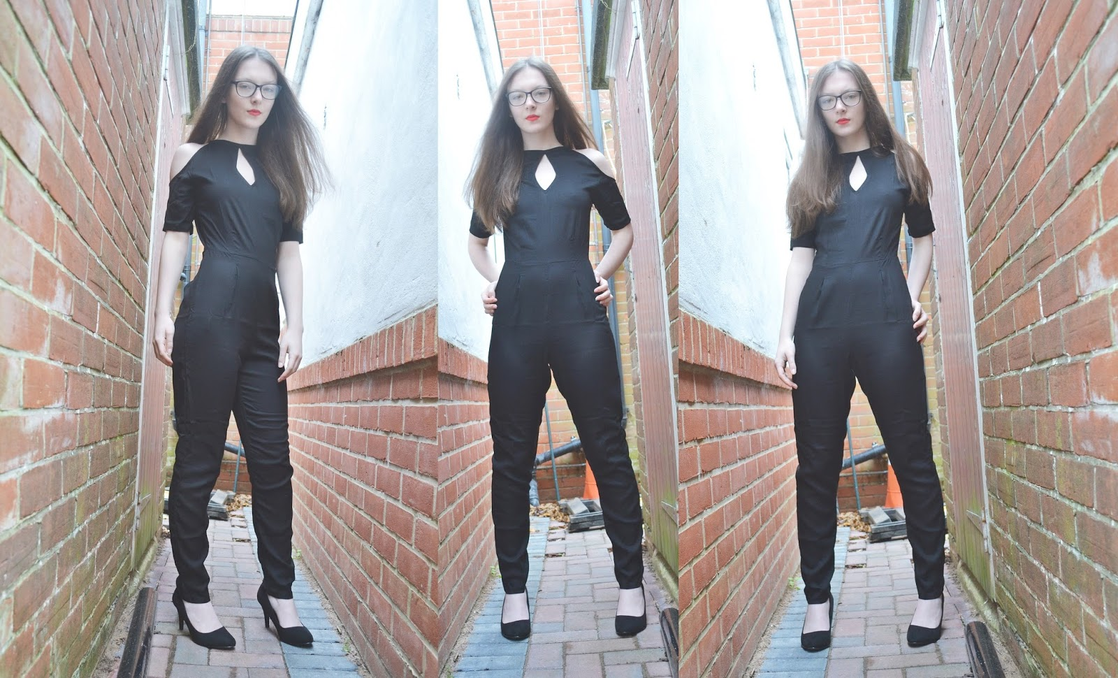 lunar look black cut out jumpsuit