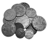 a handful of old coins on a transparent background