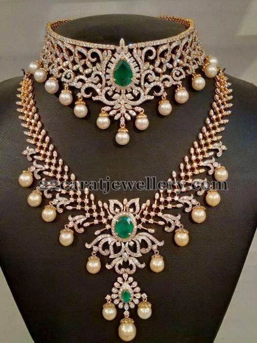 Most Elegant Diamond Choker and  Long Set