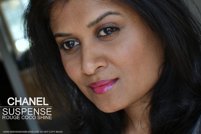 Rouge Coco Shine Lip Color Suspense 80 Avant Premiere de Chanel Makeup Collection 2013 Indian Beauty Blog Darker Skin Photos Swatch Review FOTD
