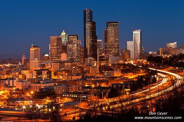 Seattle at night from Dr. Jose Rizal Park, Seattle, Washington, USA.