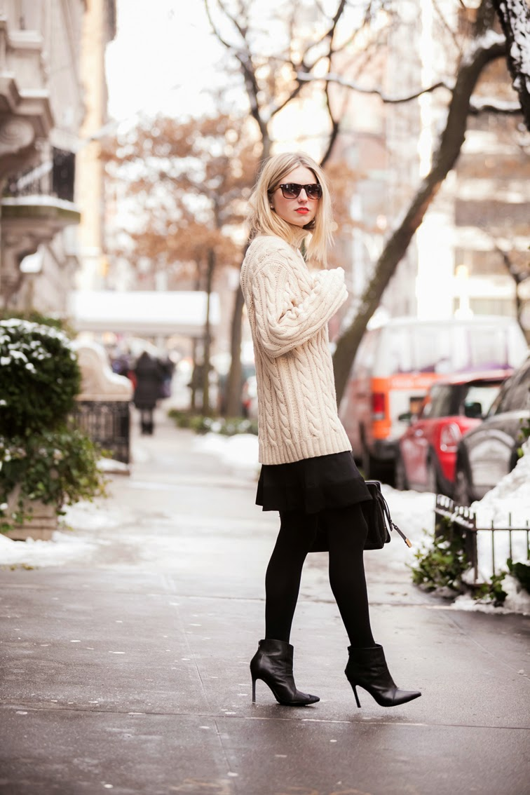 Upper East Side, NYC, Chunky knitwear, cable knit, ShoeMint pointy stiletto booties, messy blond hair. red lipstick