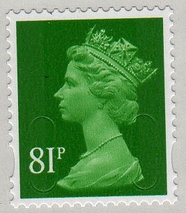 81p green surface mail Machin definitive stamp.