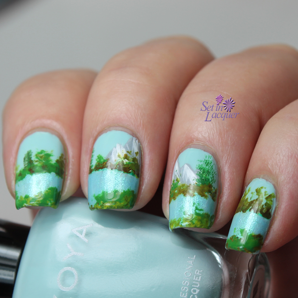 Mountain and lake landscape nail art