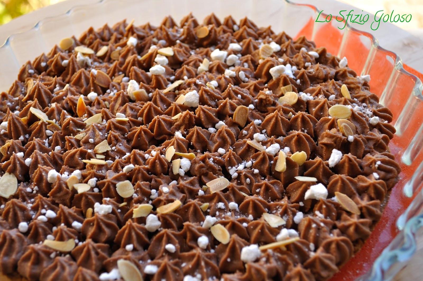 torta sbrisolona con crema di mascarpone e nocciolata