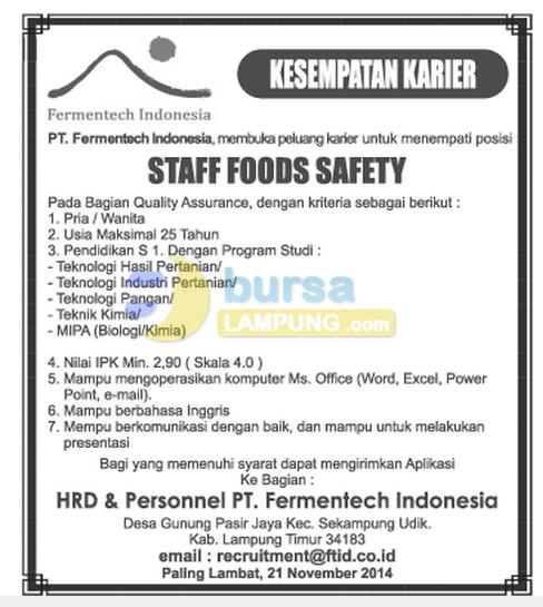 Lowongan Kerja November Pt Fermentech Indonesia Lampung Berbagi