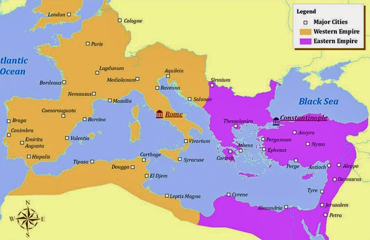 Thought mash september 2014 constantine splits roman empire into east and west this went on to become the roman catholic eastern orthodox split he also enforced the doctrine of gumiabroncs