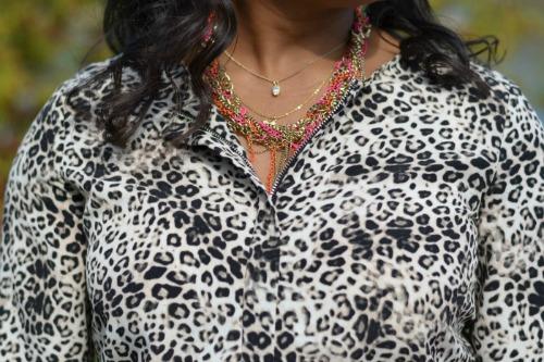 Vince Camuto Leopard Print Tie-Waist Shirtdress