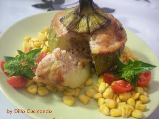 Zucchine al forno ripiene di carne e riso