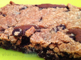 "What Mandy Thinks: Image of a cookie brownie: ""Warm gooey squares of JOY!"""