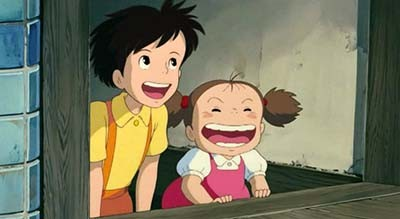 Satsuki and Mei laughing My Neighbor Totoro 1988 animatedfilmreviews.blogspot.com