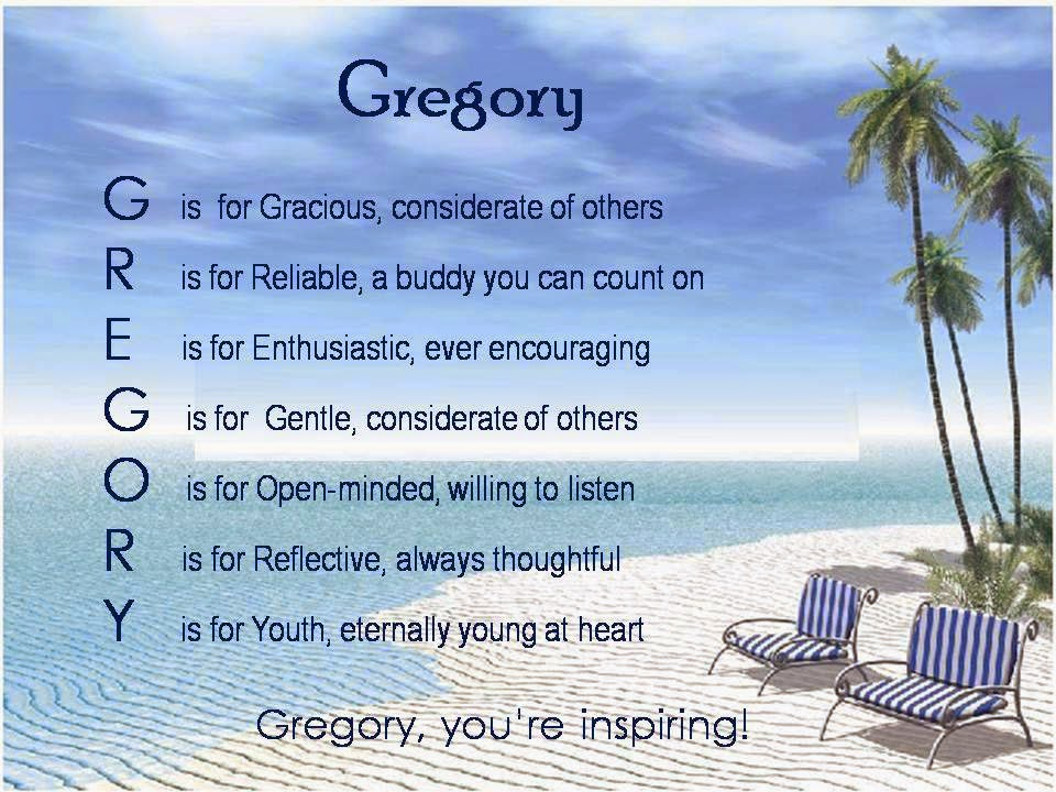 Acrostic Name Poems For Boys: Gregory