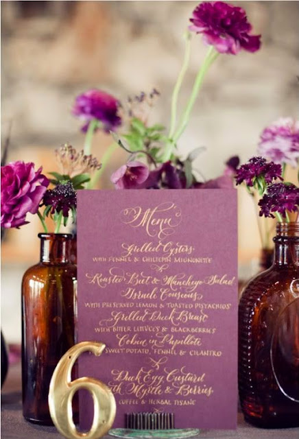 plum and gold wedding tablescape