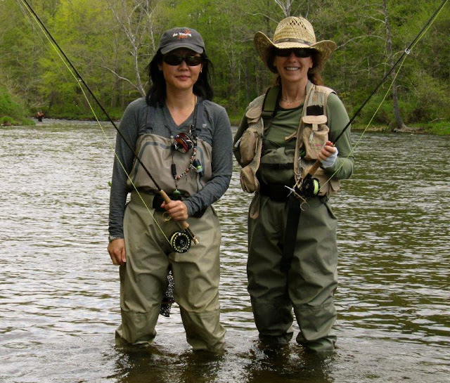 The 2 Flygirls (Hyun Kounne and Josee) fishing on the Farmington River, CT
