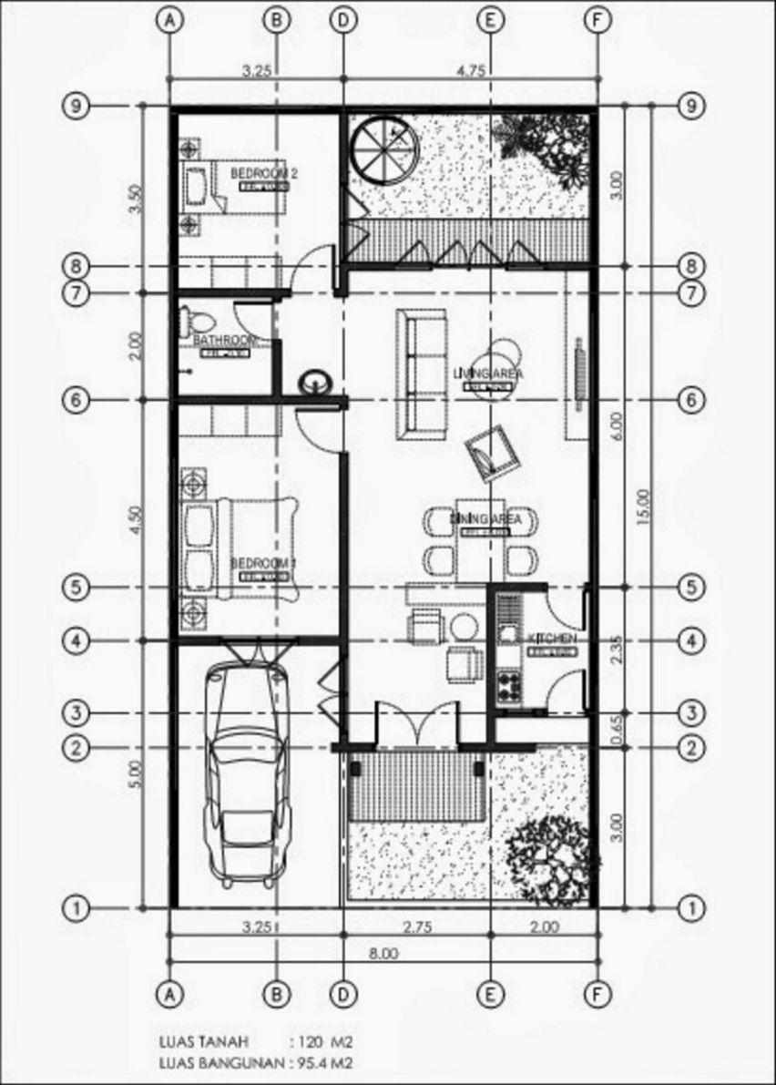 model denah rumah 8x15 yang bagus