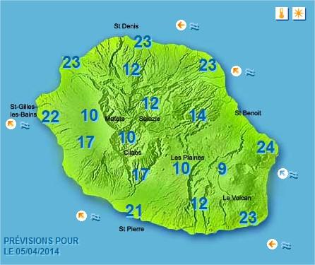 Prévisions météo Réunion pour le Samedi 05/04/14