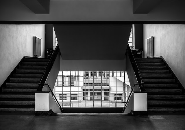 Matthew G. Beall vision driven black and white fine art  Photography   Bauhaus Stairs and Window    2012