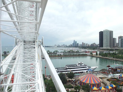 view of chicago from the ferris wheel at navy pier