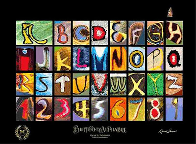 Butterfly Alphabet Optical Illusion