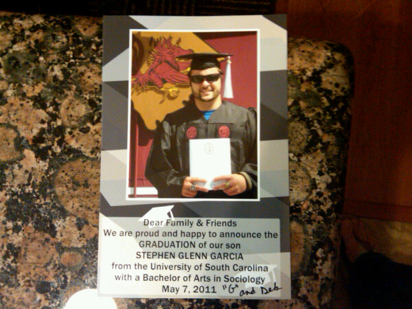 Stephen Garcia's graduation photo? Stephen Garcia's graduation photo.