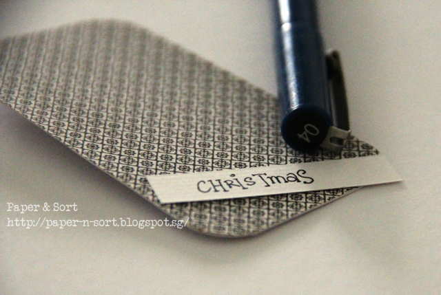 upcycle project - christmas tag made of scrap paper