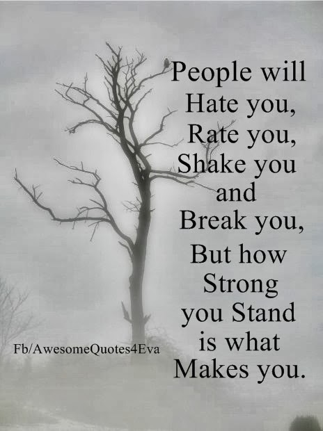 Awesome Quotes: People will hate you, rate you, shake you and break you