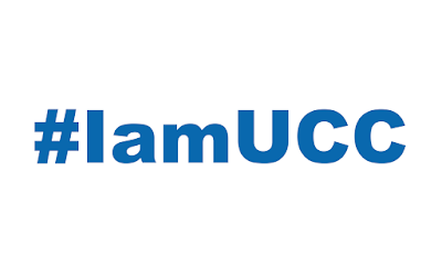 text over white: #IamUCC