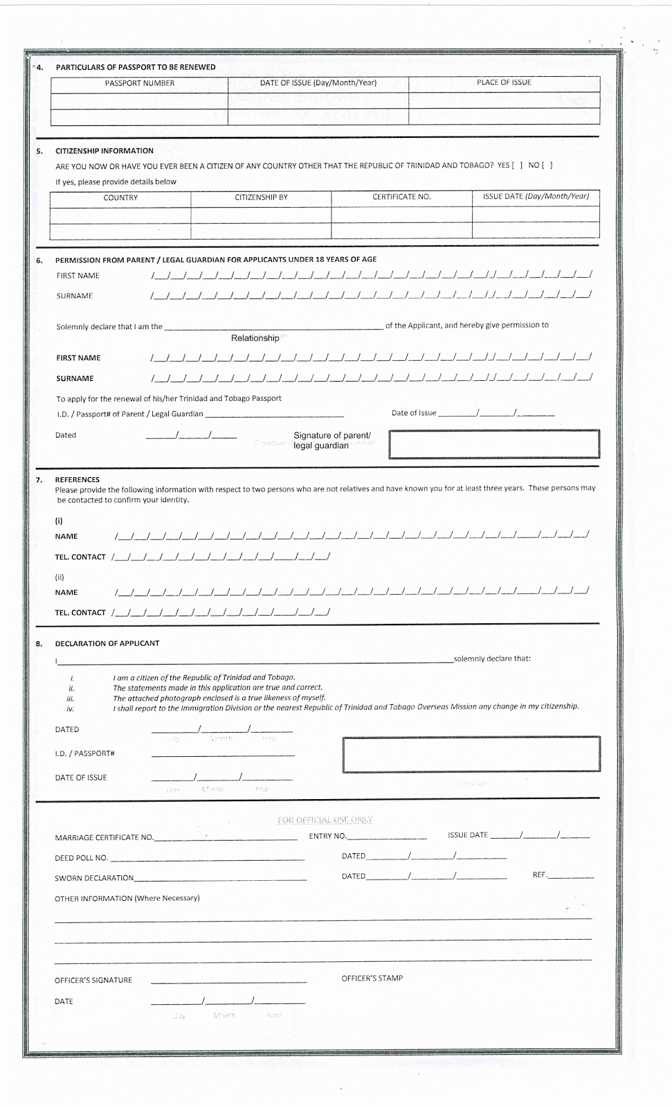 How to renew Trinidad and Tobago Passport – Passport Renewal Application Form