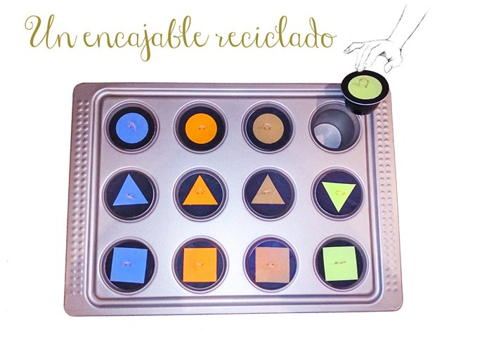 Juego encajable reciclado, upcycled Montessori game for toddlers