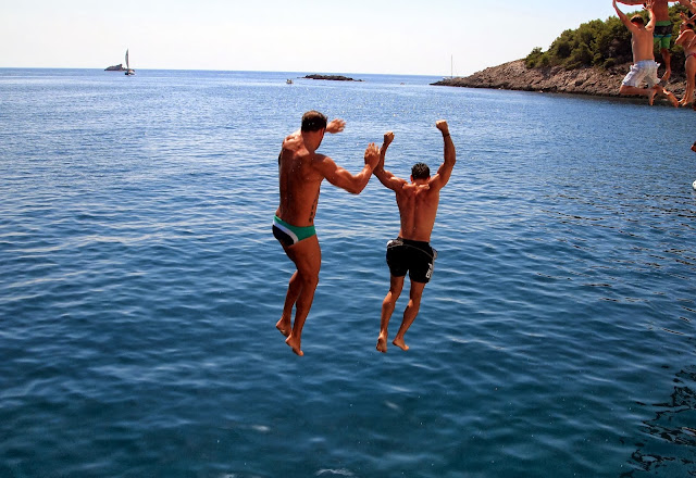 Cliff jumping at Vis, Croatia